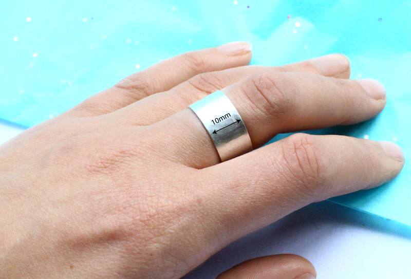 Hammered Sterling Silver Chunky Cuff Ring - product image