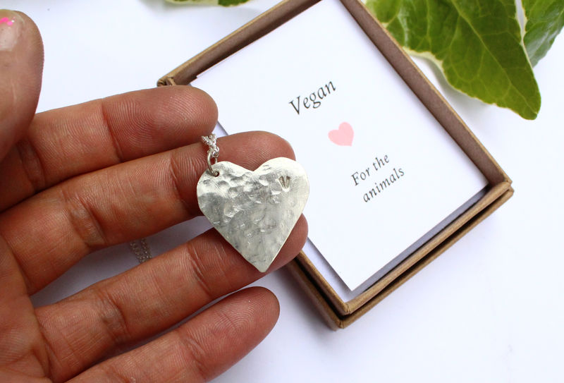 Vegan Motif Sterling Silver Heart Necklace - product image