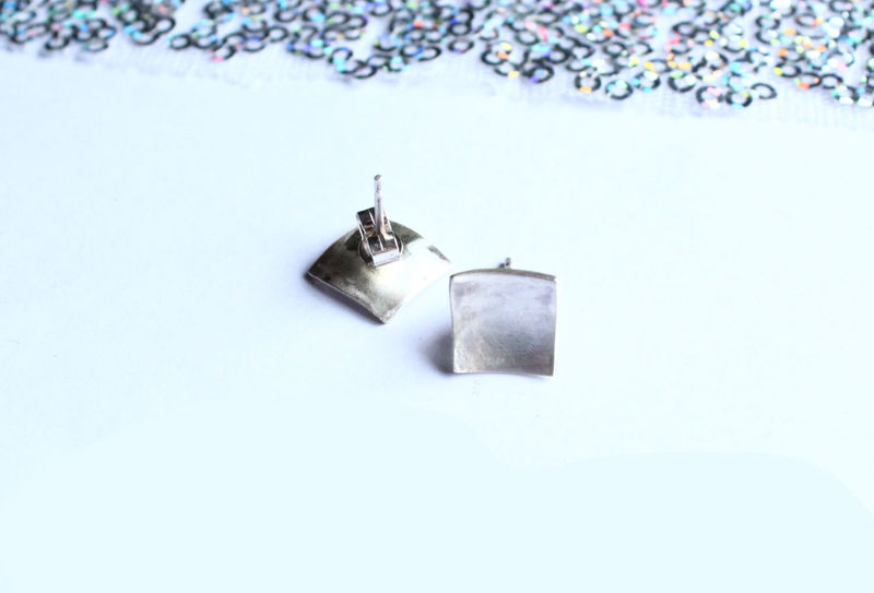 Curved Square Sterling Earrings - product image