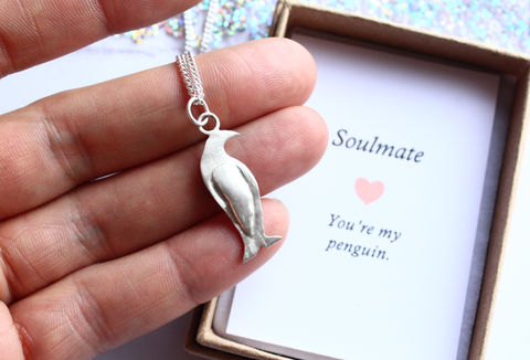 Penguin,Necklace,in,Sterling,Silver,penguin, love romance,  valentines, anniversary, wedding, bridal, girlfriend, wife, animal necklace, penguin pendant, penguin love, soulmate