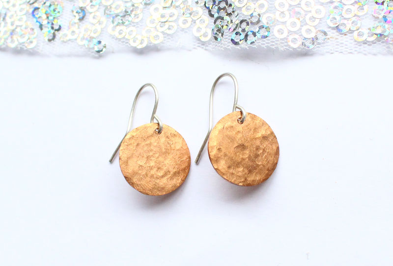 Copper Orb Coin Style Earrings - product image