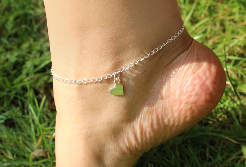 Heart Charm Anklet in Sterling Silver - product image