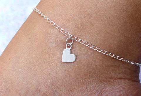 Heart,Charm,Anklet,in,Sterling,Silver,heart charm, gift for her, anklets for women, anklet, ankle bracelet, ankle jewellery, beach jewellery, sterling silver, 925, solid silver, for her, stocking filler, charm bracelet