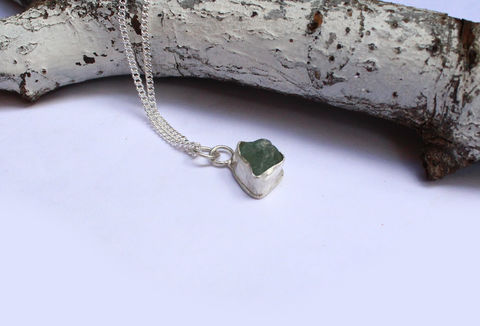 Raw,Aquamarine,and,Silver,Necklace,-,One,of,a,Kind,raw gemstone, pisces gift, aqua, aquamarine, blue, green, one of a kind, ooak, rough gemstone, necklace, sterling silver pendant, boho necklace, jewellery, jewelry, for her, valentines gift