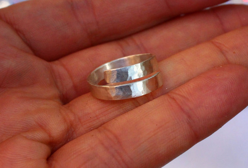 Wraparound Ring in Hammered Sterling Silver - product image