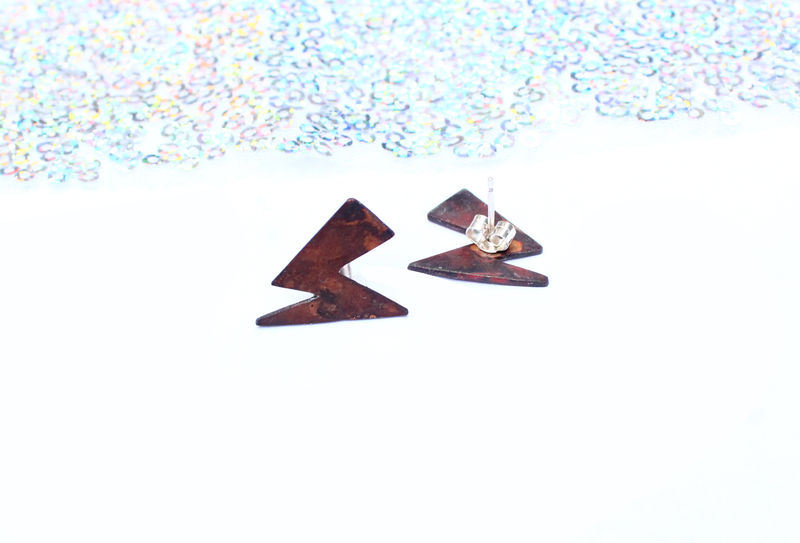 Ziggy Vibes Copper Lightning Earrings - product image