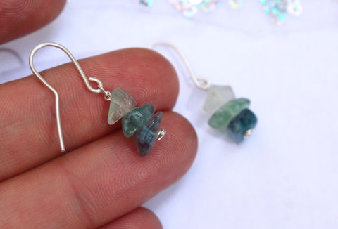 Rainbow,Fluorite,Gemstone,Earrings,earrings, dangle, drop, Rainbow Fluorite, gemstone, 925 sterling, jewellery, jewelry, solid silver, gift for her, boho