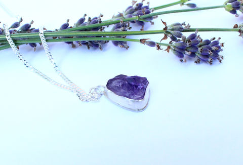 Raw,Amethyst,Necklace,in,Sterling,Silver,,OOAK,raw, rough, gemstone, gift, amethyst , purple, one of a kind, ooak, rough gemstone, necklace, sterling silver pendant, boho necklace, jewellery, jewelry, for her, valentines gift