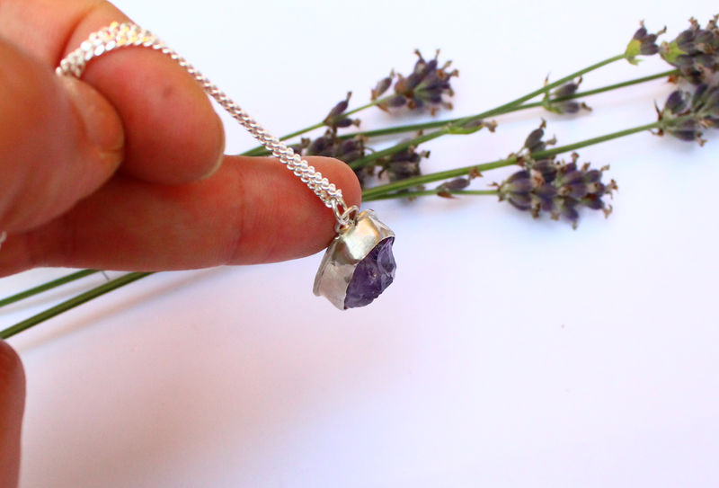 Raw Amethyst Necklace in Sterling Silver, OOAK - product image
