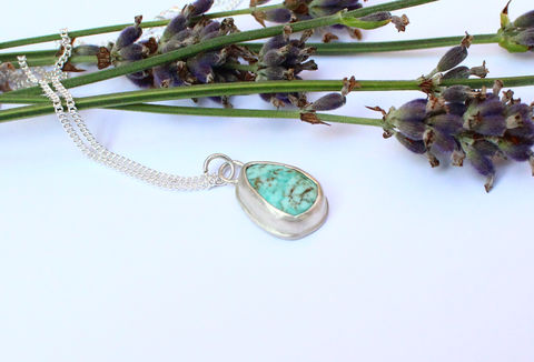 Turquoise,Teardrop,Silver,Necklace,-,One,of,a,Kind,raw gemstone, Sagittarius, December gift, turquoise, indian, blue, one of a kind, ooak, gemstone, necklace, sterling silver pendant, boho necklace, jewellery, jewelry, for her, valentines gift