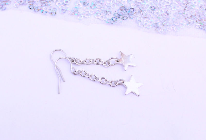 Silver Star Chain Drop Earrings - product image