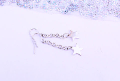Silver,Star,Chain,Drop,Earrings,chain drop earrings, star, constellation, celestial, minimalist jewelry, classic, drop earrings, handmade,  silver earrings, 925 sterling, jewellery, jewelry, solid silver, gift for her, anniversary gift, valentines gift