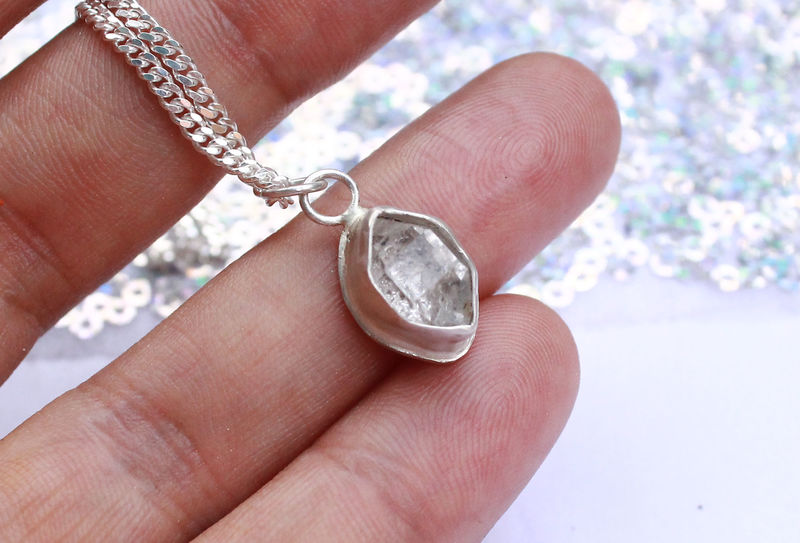 Herkimer Diamond Necklace in Sterling Silver, OOAK - product image