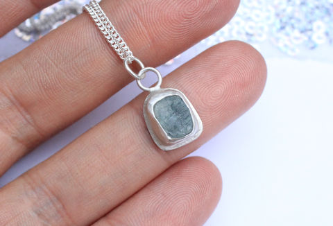 Raw,Aquamarine,Pendant,Necklace,raw gemstone, pisces gift, march birthstone, aqua, aquamarine, blue, green, one of a kind, ooak, rough gemstone, necklace, sterling silver pendant, boho necklace, jewellery, jewelry, for her, valentines gift