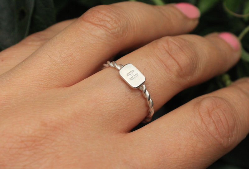 Initial Twist Ring In Sterling Silver  - product image