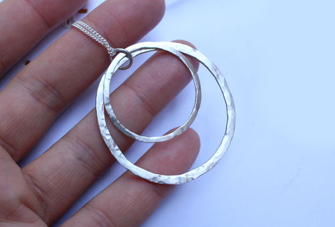Silver,Hoops,Necklace,hoops necklace, silver hoop necklace, circle, hammered, necklace, pendant, high quality, classic, 925 sterling, jewellery, jewelry, solid silver, gift for her, sterling silver