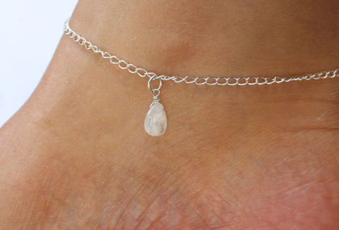 Rainbow,Moonstone,Gemstone,Sterling,Silver,Anklet,rainbow moonstone, gemstone, ankle bracelet, ankle jewellery, beach jewellery, sterling silver, 925, solid silver, for her, stocking filler, charm bracelet