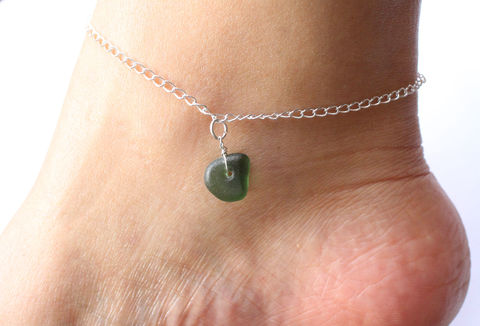 Green,Sea,Glass,Sterling,Silver,Anklet,green sea glass, sea glass, natural, nautical, ankle bracelet, ankle jewellery, beach jewellery, sterling silver, 925, solid silver, for her, stocking filler, charm bracelet