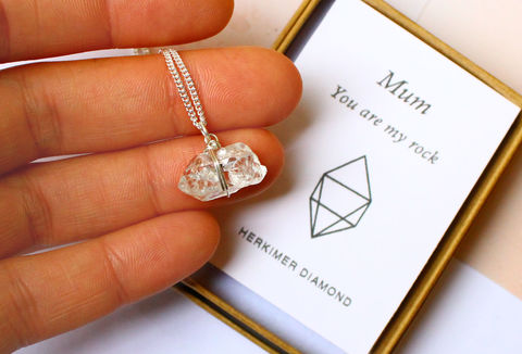 Herkimer,Diamond,Necklace,Gift,For,Mum,raw, rough, gemstone, gift, mum gift, mothers day, herkimer diamond, clear, diamonds, double terminated, quartz, one of a kind, ooak, rough gemstone, necklace, sterling silver pendant, jewellery, jewelry, for her, valentines gift