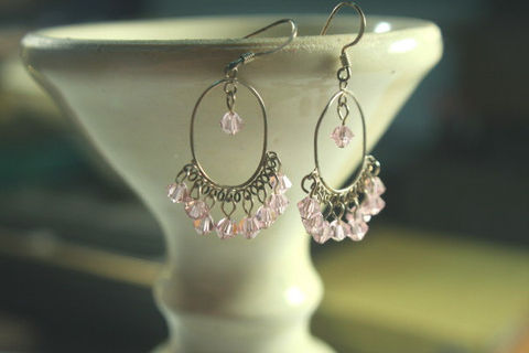 Crystal,Chandelier,Pink,Gypsy,-Crystal,Hoop,Earrings,in,Sterling,Silver,and,sparkly,faceted,Pink_Crystal, sterling silver earrings, Crystal and silver earrings, Hoop earrings, pink earrings, crystal earrings
