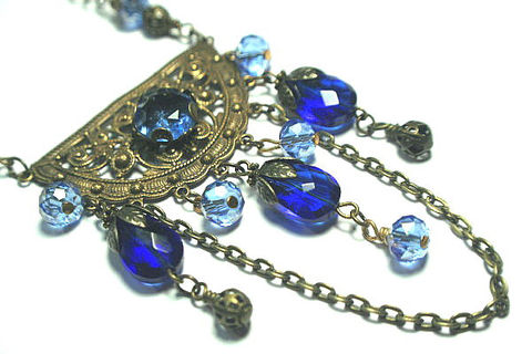 Gold,and,Sapphire,Blues,Bohemian,Statement,Necklace,-,Enchantress,gold,filigree,Crystal,Stone,Accents,Jewelry,Charm,Victorian_jewelry,Bohemian_necklace,Lolita,Regency_jewelry,Renaissance,Statement_Necklace,Neo_Victorian,Romance,Art_Nouveau,Bohemian_inspired,Sapphire_Blues,Antique_Gold,Vintage_Brass,Brass,metal,Czech vintage stone,crystal