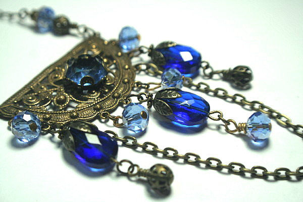 Gold and Sapphire Blues Bohemian Statement Necklace -  Enchantress gold filigree Crystal and Stone Accents - product images  of