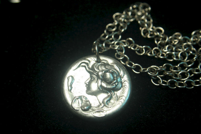 Art Nouveau Antique Silver Water Lily Goddess Pendant Plated Vintage Brass Necklace - product images  of