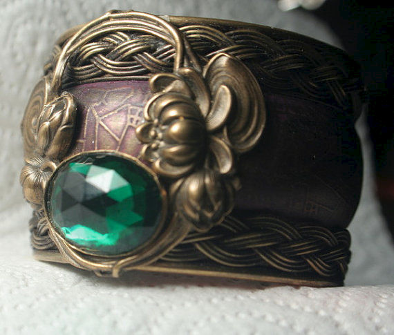 Original Art Nouveau Vintage WaterLily and Emerald Cuff Bracelet - product images  of