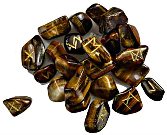 Sacred Viking Natural Tiger Eye Rune Set set in the Elder Futhark tradition - product images  of