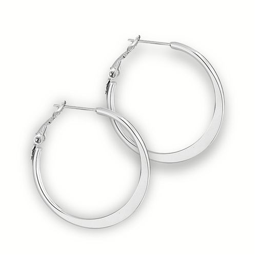 Stainless Steel Hoop Earring flattened Design 4mm x 30mm Hypo Allergenic large Bohemian Gypsy Style  - product images