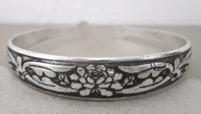 Bohemian Cuff Bracelet  Lotus Flower Design Antiqued Silver Dance Accessories and Jewelry - product images