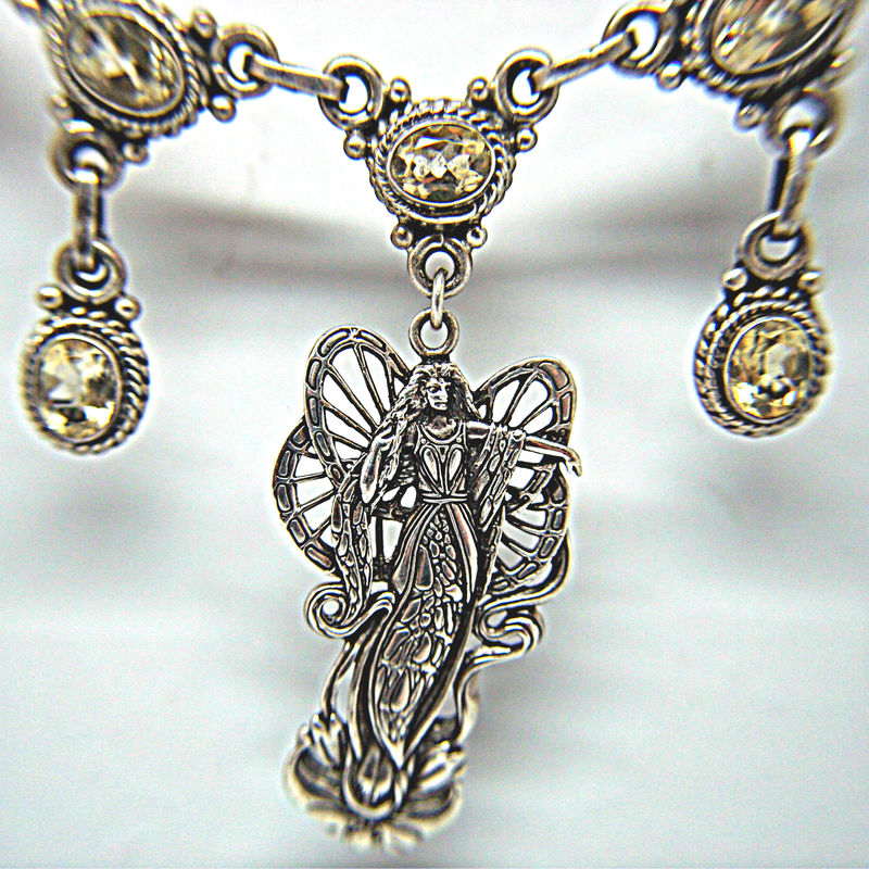 Beautiful Lotus Fairy Pendant Necklace Citrine Gemstone 925 Sterling Statement Necklace - product images  of