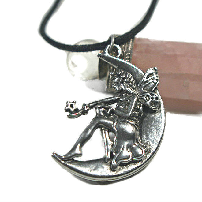 Fairy on the Moon Pendant Moon Beam large fine antiqued pewter charm suncatcher - product images  of