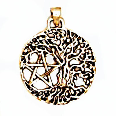 Tree of Life Pentacle Pendant - Bronze Tree of Life Amulet - Celtic Necklace - Golden Bronze - Charm Connector - SCA - product images  of