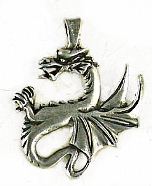 Renaissance Dragon Pendant Old World Jewelry Component  - product images