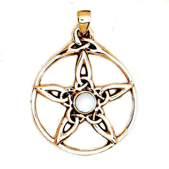 Celtic Pentacle Star Pendant with MOP Cabochon Solid Bronze Celestial Amulet Goddess Talisman - product images
