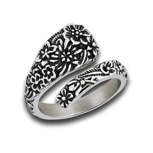 Spoon Ring, Antiqued Victorian Flower Motif Retro Vintage Style Rings - product images