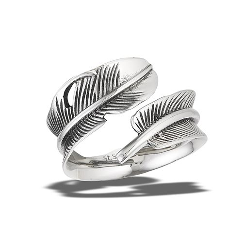 Feather Magic Ring Adjustable Antiqued Stainless Steel Retro Bohemian - product images