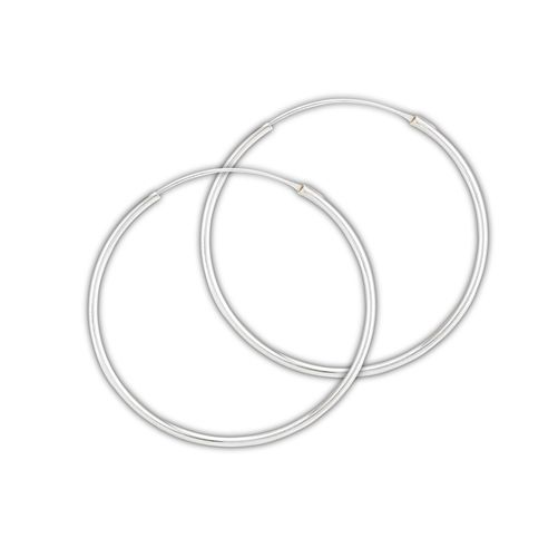 Sterling Silver Endless Hoop Continuous Earrings width 1.5 mm x 40mm Gypsy Bohemian  - product images