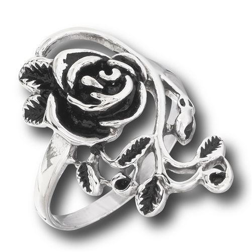 Antiqued Stainless Steel Rose and Vine Ring Statement Ring Bohemian Retro Vintage Style Rings - product images