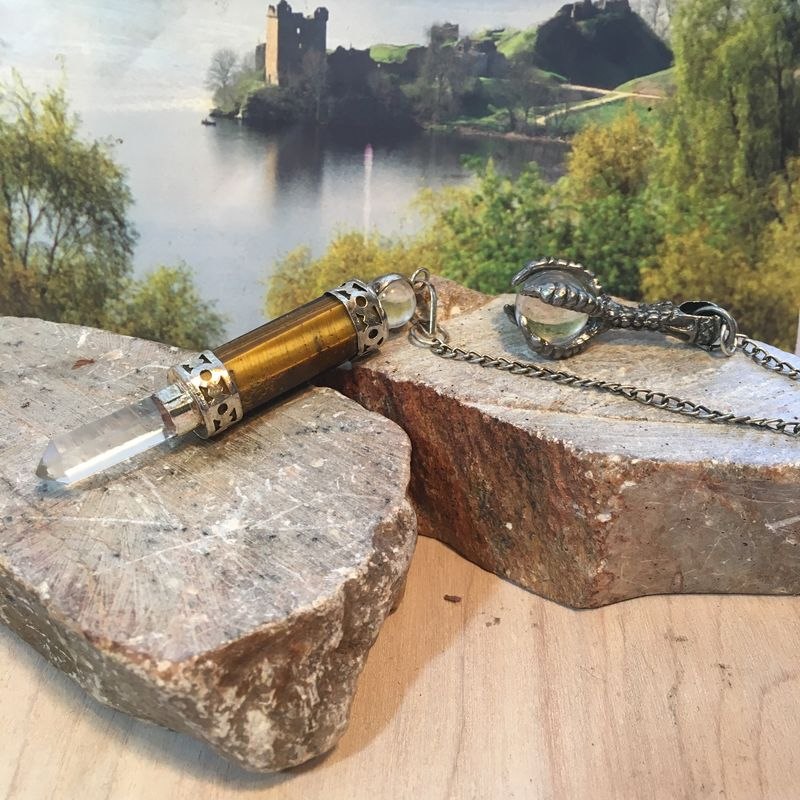 Crystal Wand Dragon Claw Pendulum Tiger Eye and Quartz Crystal plus add a Pendulum Chart  - product images  of