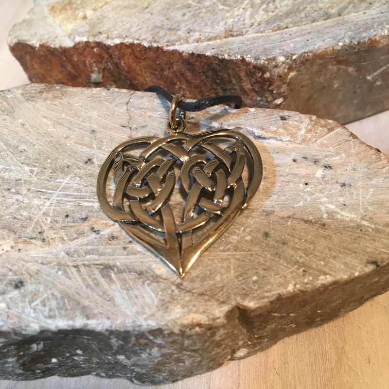 Celtic Heart Pendant Medallion Solid Golden Bronze Historical Accessories Renaissance SCA - product images  of