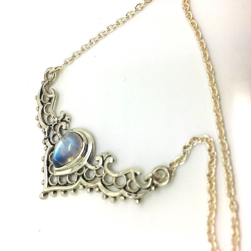 Magical Rainbow Moonstone Filigree Necklace cast in Fine 925 Sterling Silver - product images  of