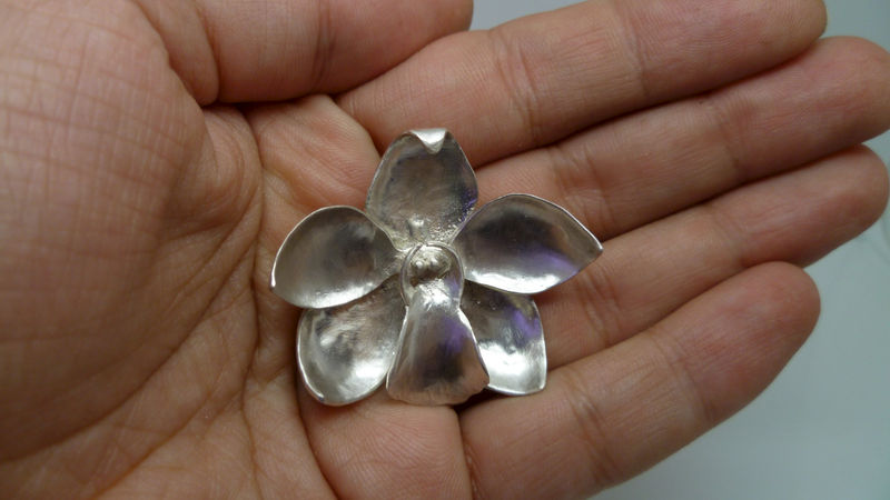 Cymbidium Orchid Barrette in Sterling Silver - product images  of
