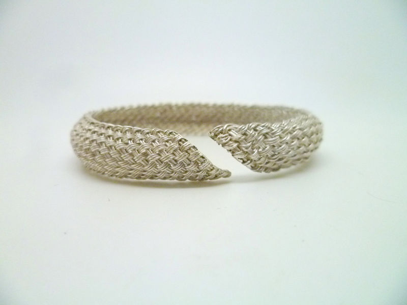 Domed Woven Silver Cuff - product images  of