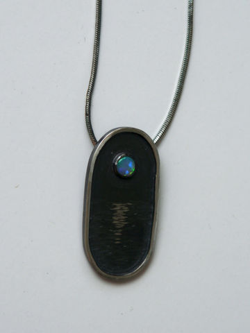 Moon and Sea Opal Sterling Silver Pendant - product images  of