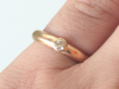 Traditional 18k wedding ring with diamond - product images  of
