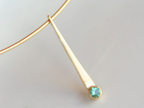 Forged,18k,Gold,Pendant,with,Tourmaline,Jewelry,Metalwork,long_pendant,blue_green,teal_tourmaline,sea_foam_green,beatriz_fortes,aspiringmetalsteam,eco_friendly,october_birthstone,18k_gold,gold_pendant,contemporary_jewelry,forged_gold_pendant,emerald_green,blue green tourmaline,18k gold