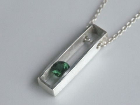 Floating,Stone,Pendant,Jewelry,sterling_silver,faceted_tourmaline,deep_forest_green,beatriz_fortes,october_birthstone,long_silver_pendant,eco_friendly,Emerald_green,contemporary_jewelry,silver_necklace,minimalist_jewelry,mens_pendant,silver_pendant,green tourmalin