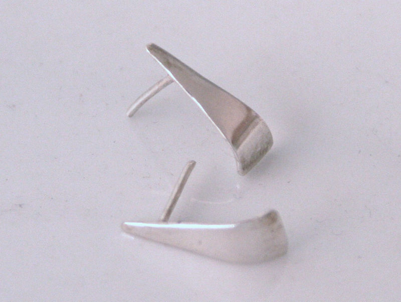 Silver gently curved earrings Long - product images  of